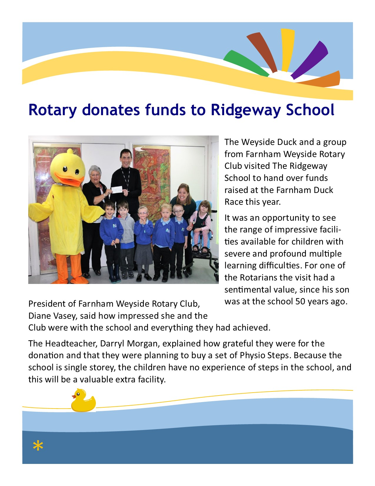 Rotary Donation from Duck Race Oct18